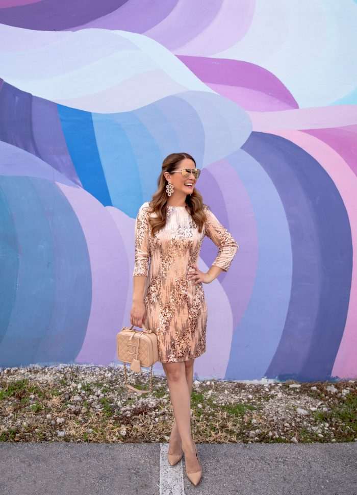 Rose Gold Sequin Shift Dress at Wynwood Walls