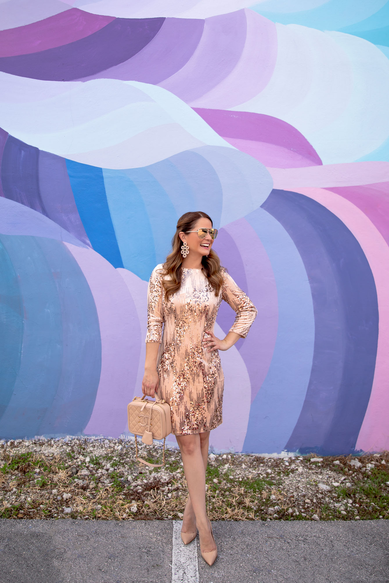 Eliza J Rose Gold Sequin Shift Dress