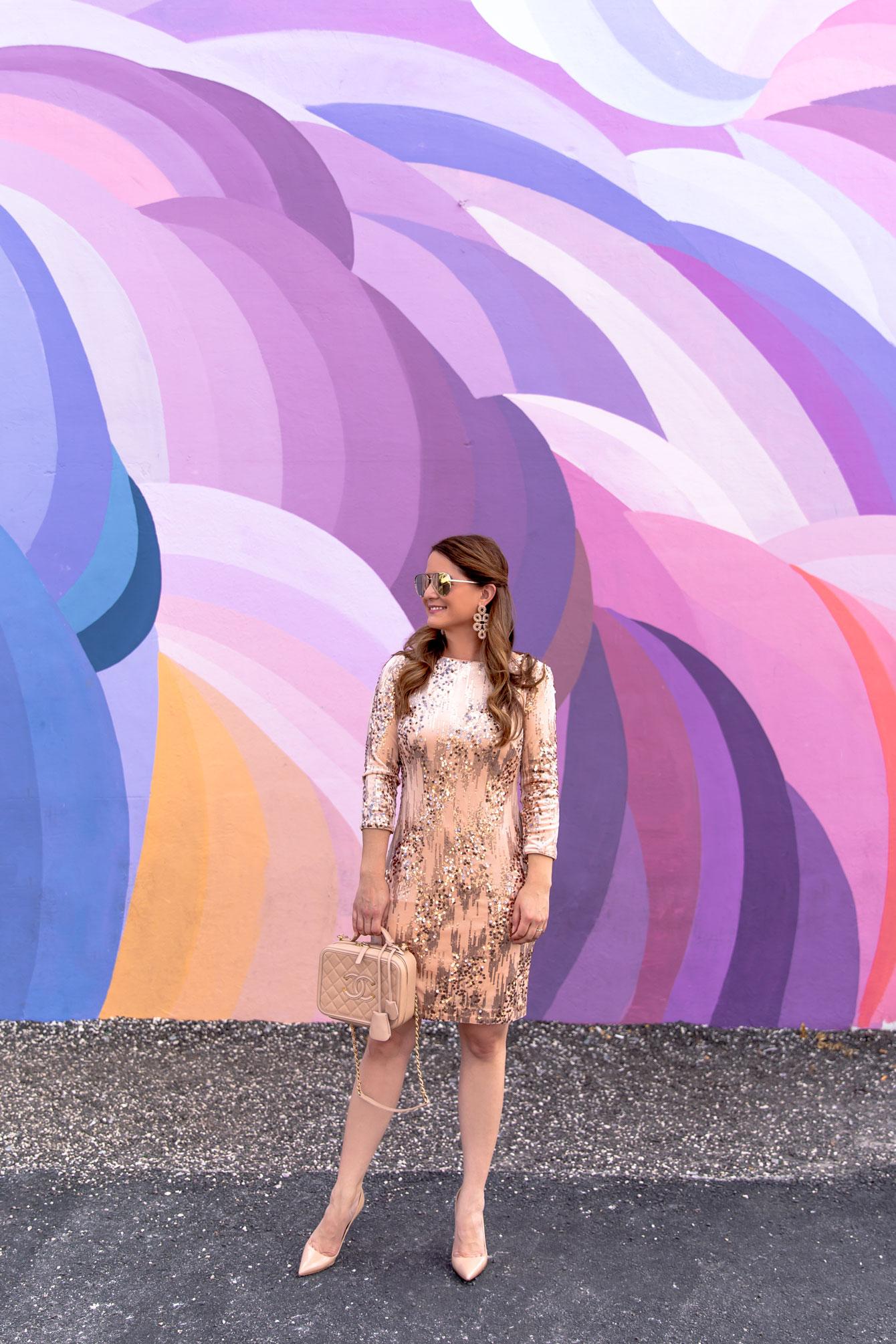 Eliza J Sequin Shift Dress
