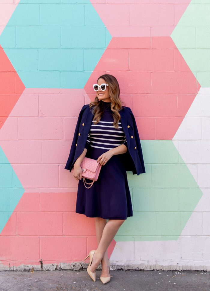 Navy Stripe Sweater Dress // Friday Charades