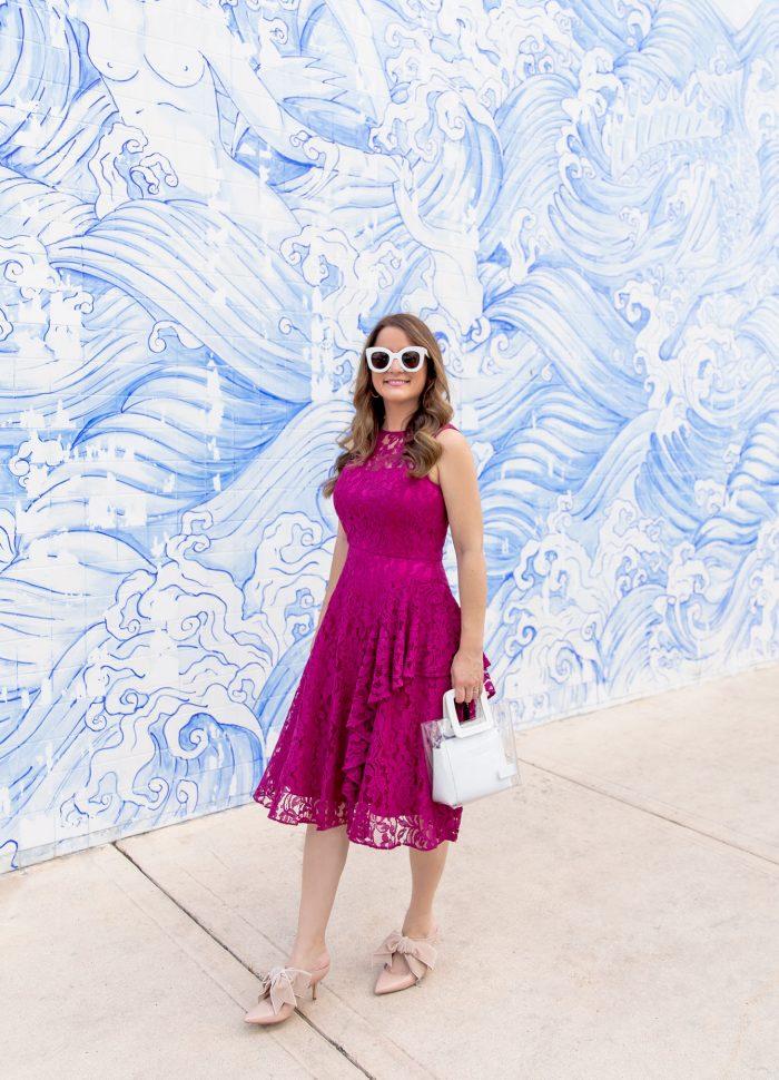 Fuchsia Lace Ruffle Dress // Friday Charades