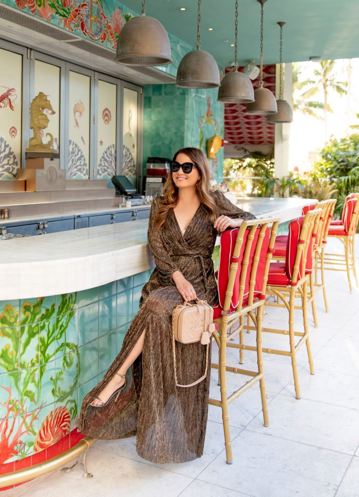 Metallic Maxi Wrap Dress at Faena Hotel Miami Beach