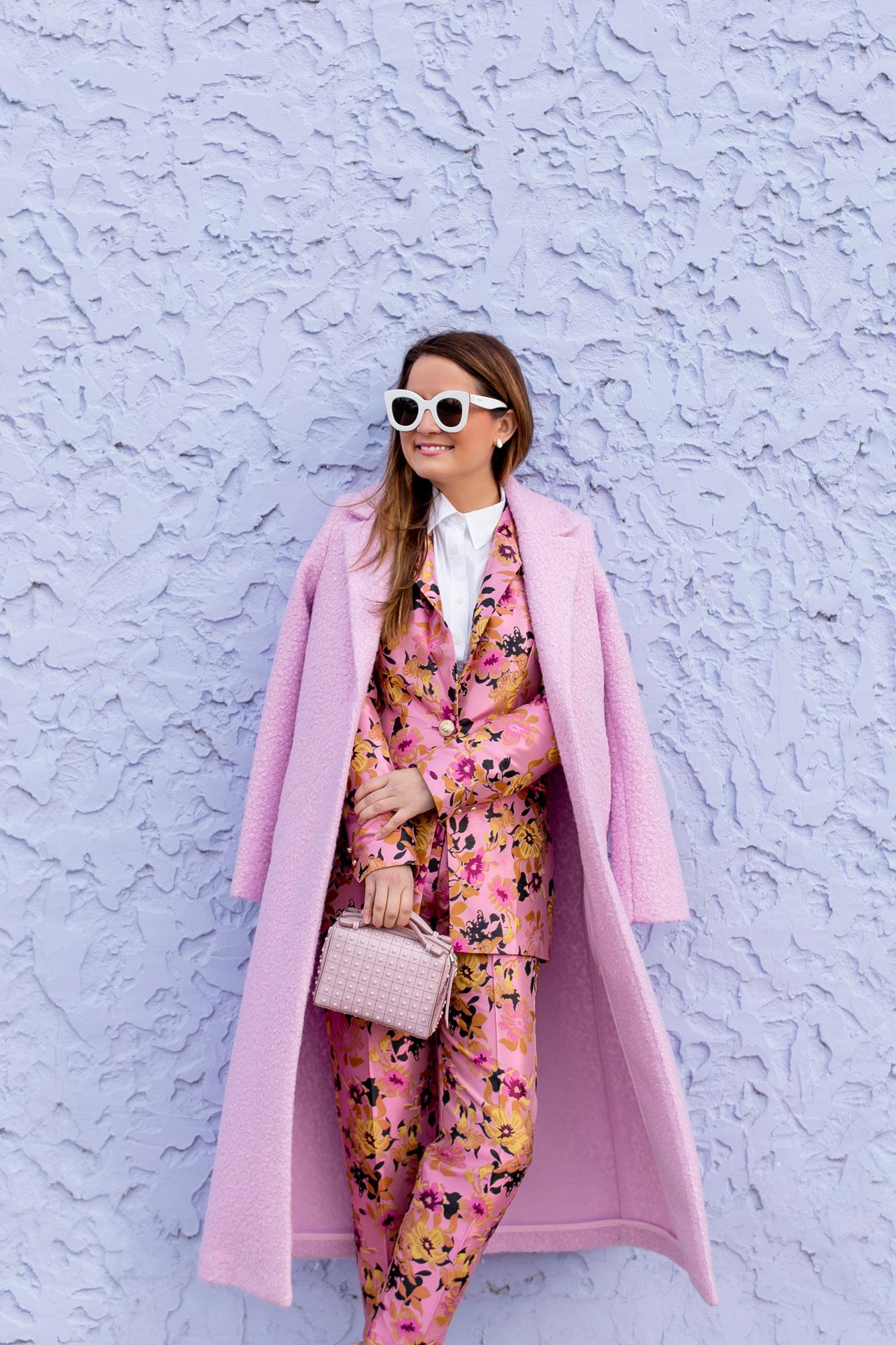 Jennifer Lake River Island Pink Suit