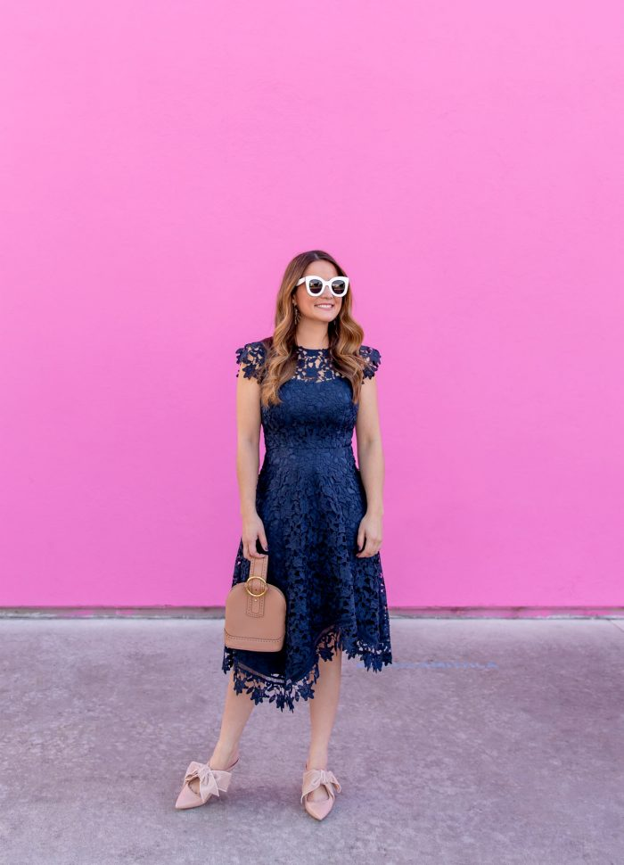Navy Asymmetrical Lace Dress