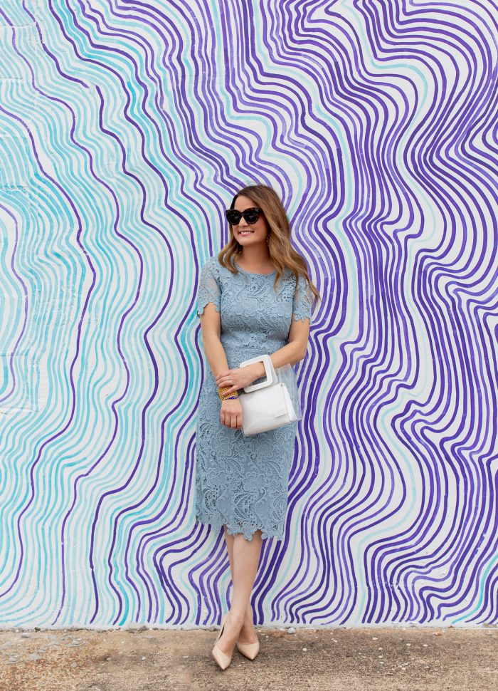 Blue Lace Sheath Dress at a Colorful Nashville Mural