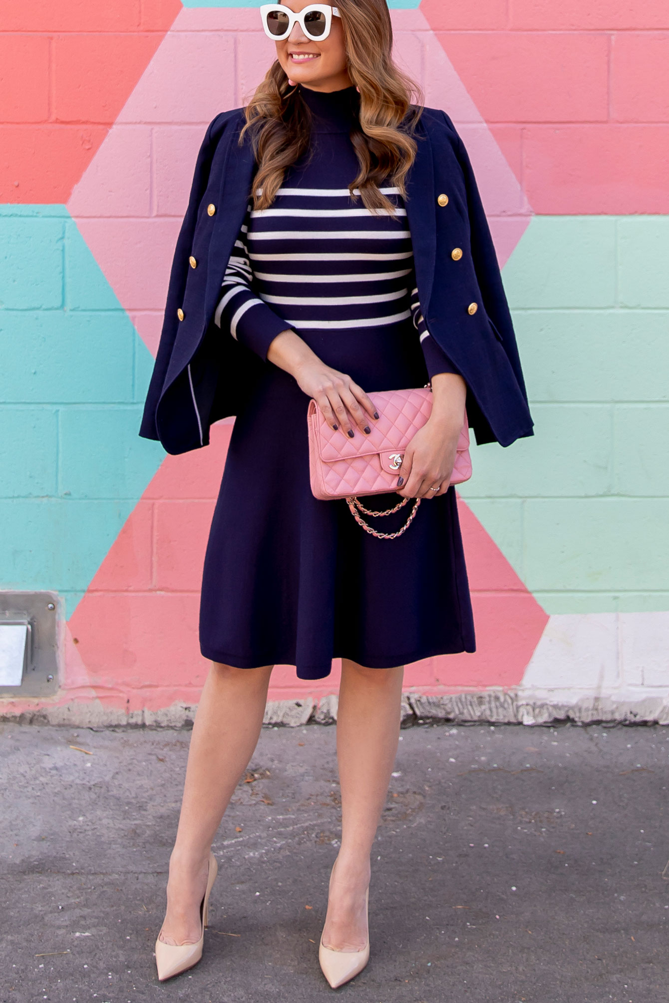Navy Stripe Sweater Dress