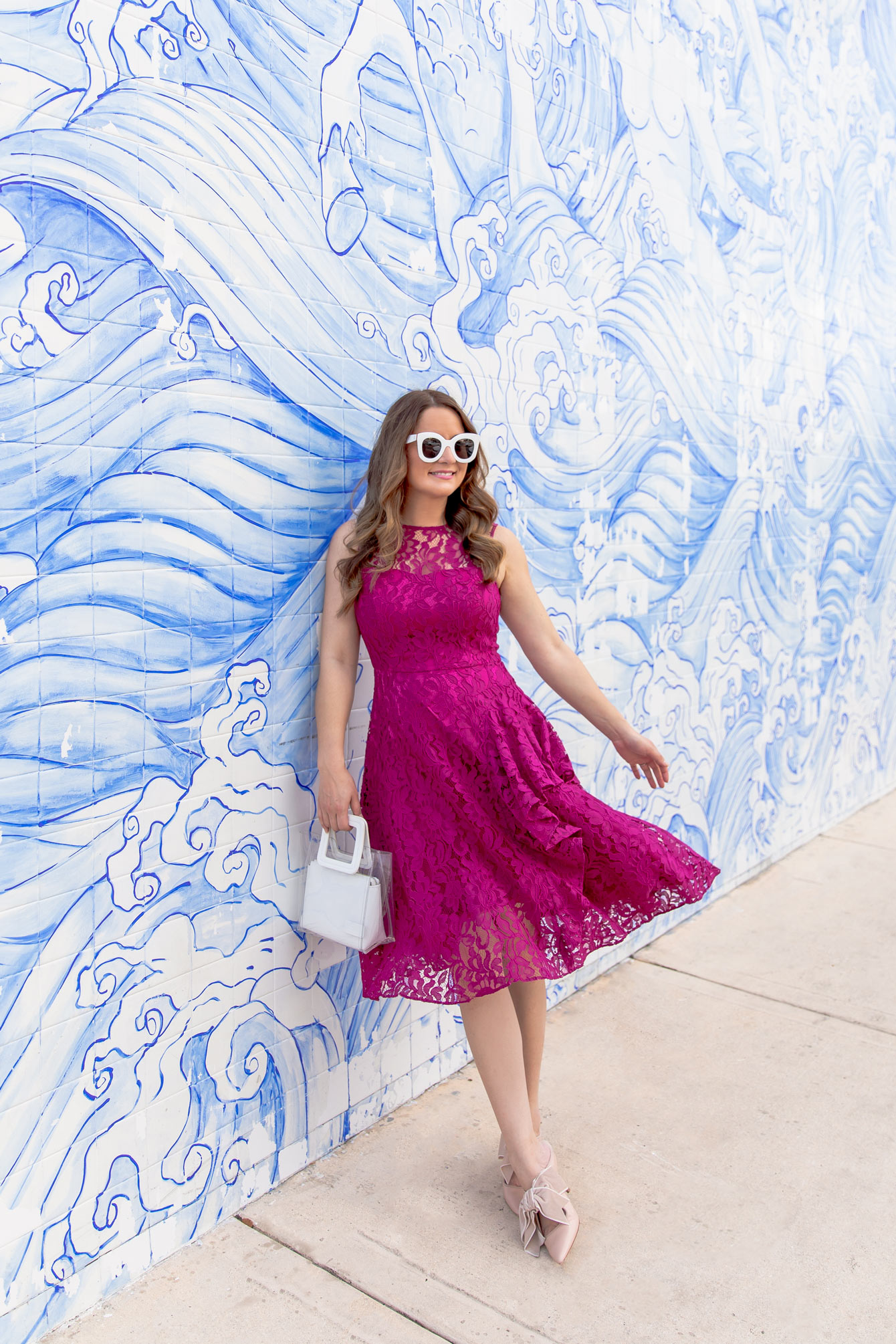 Nordstrom Pink Lace Fit Flare Dress