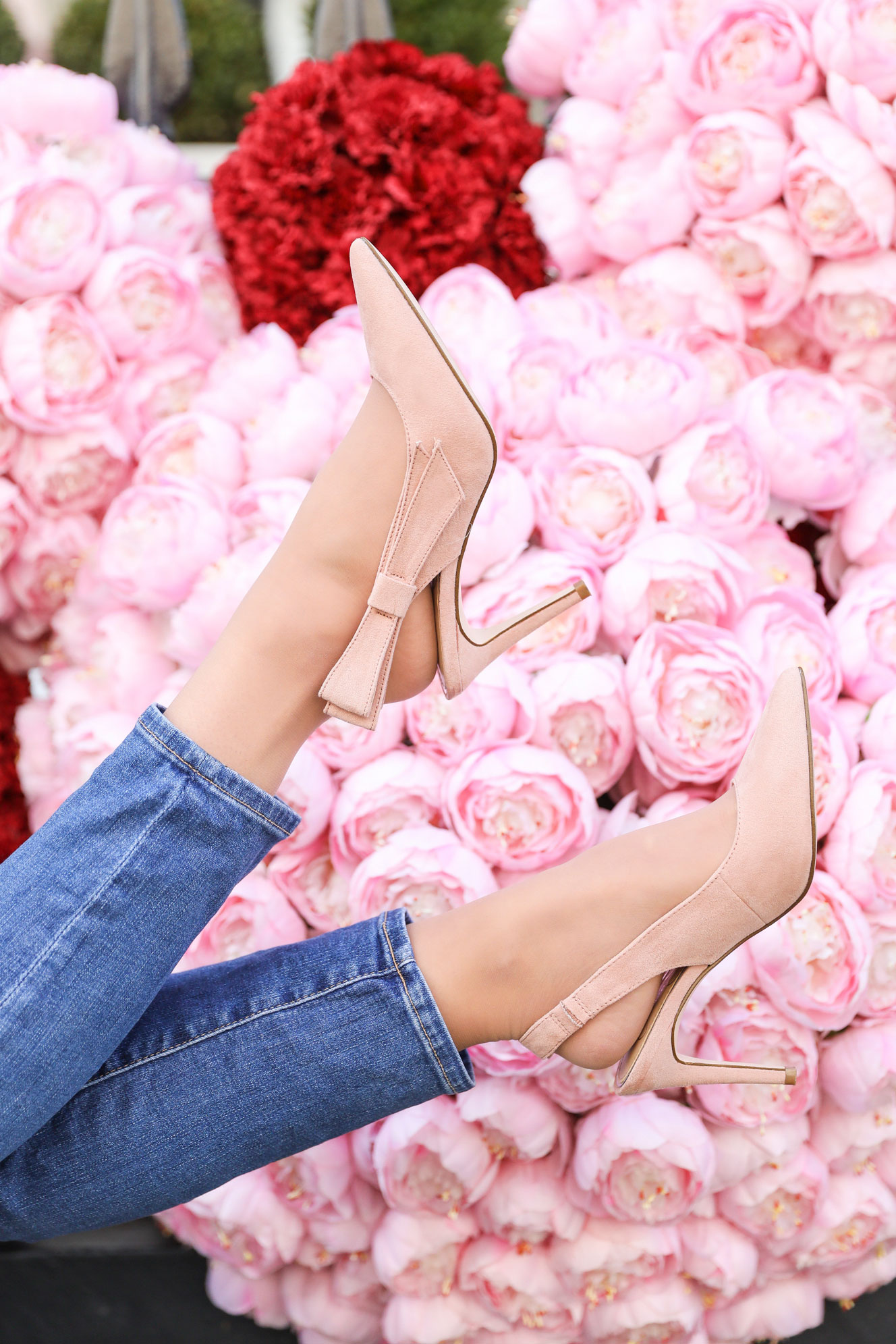 Pink Suede Bow Pumps