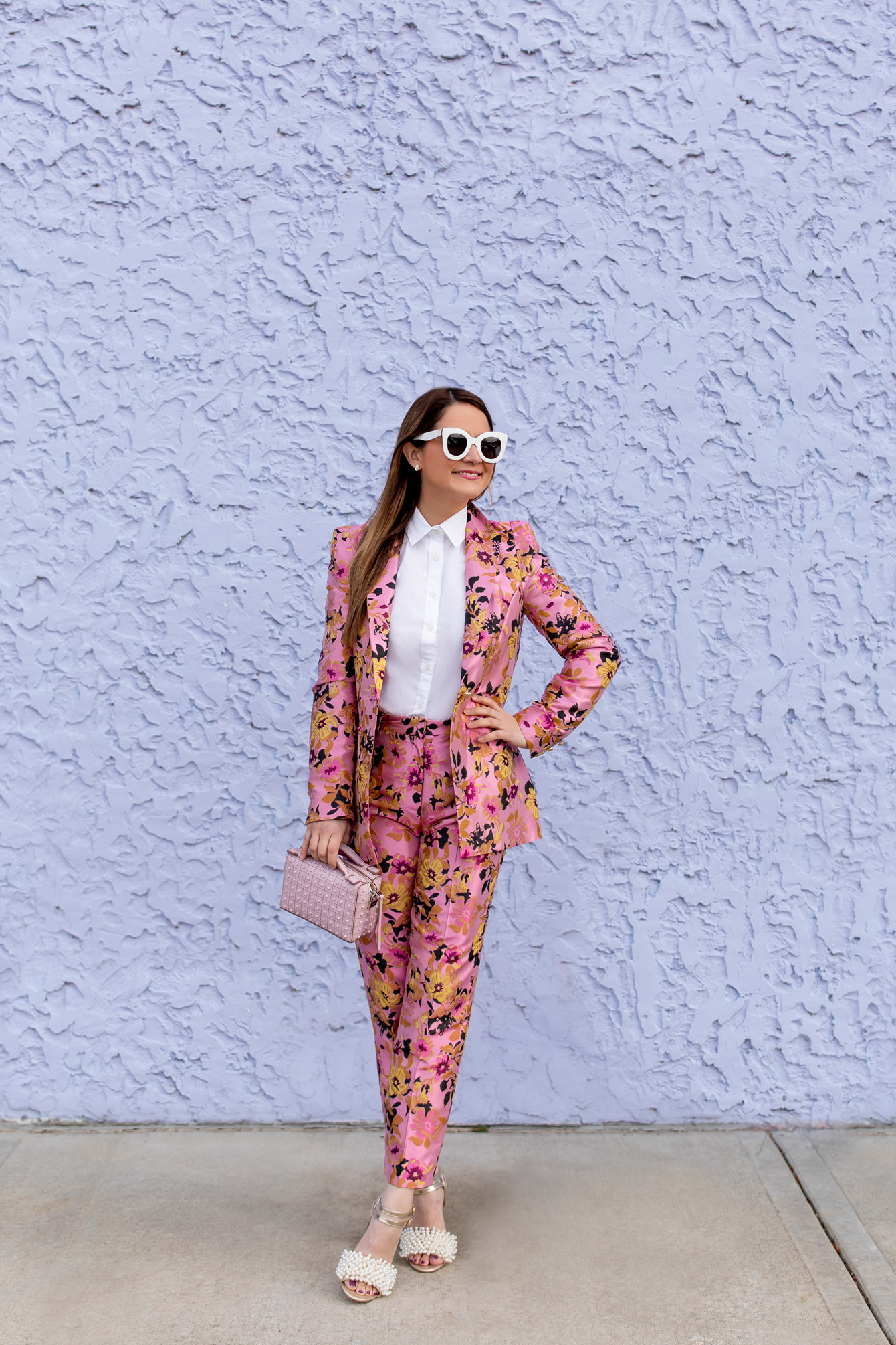 River Island Pink Floral Suit