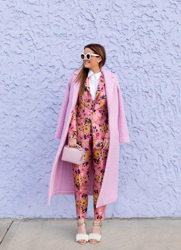 River Island Pink Floral Jacquard Jacket and Pants