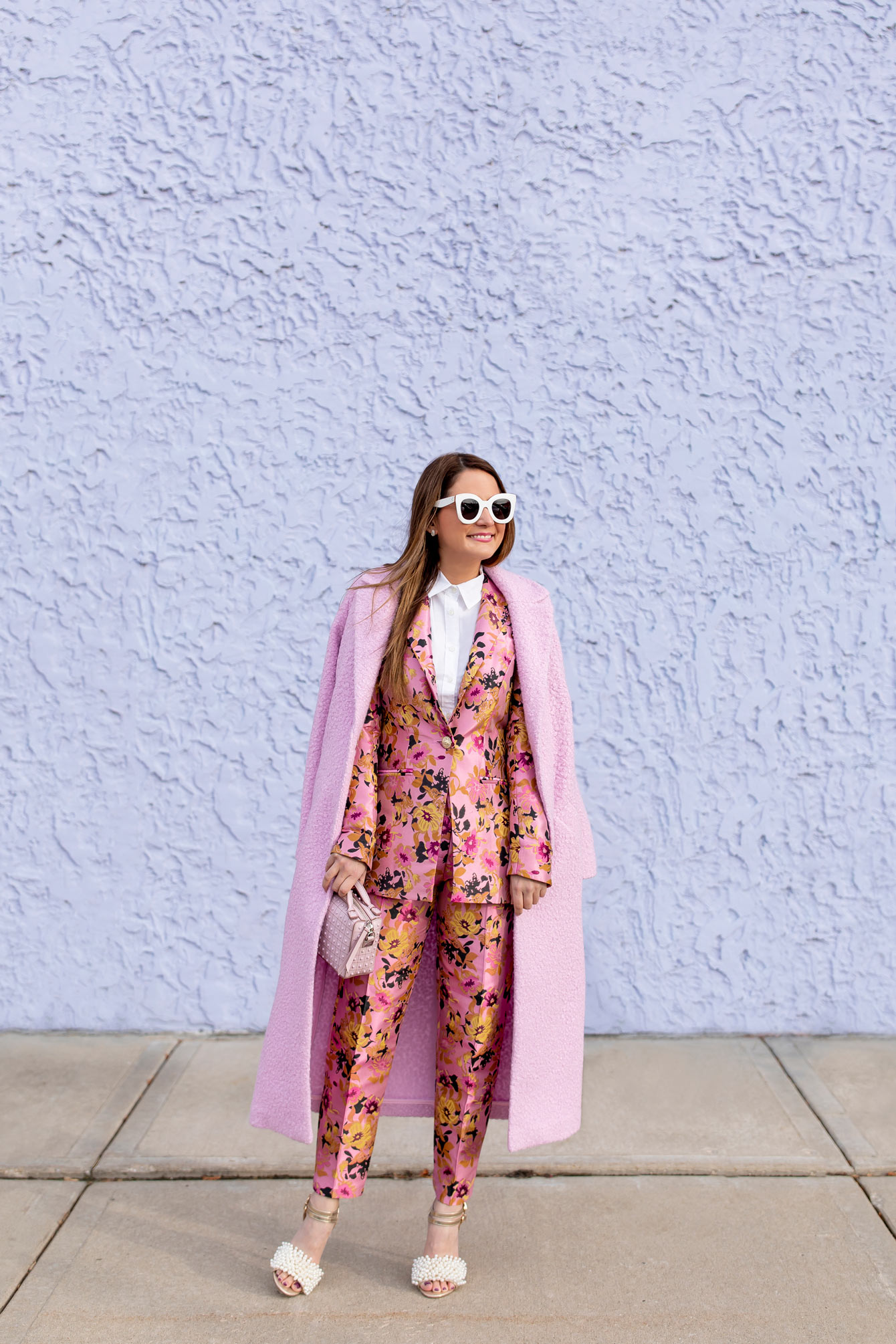 River Island Pink Textured Coat