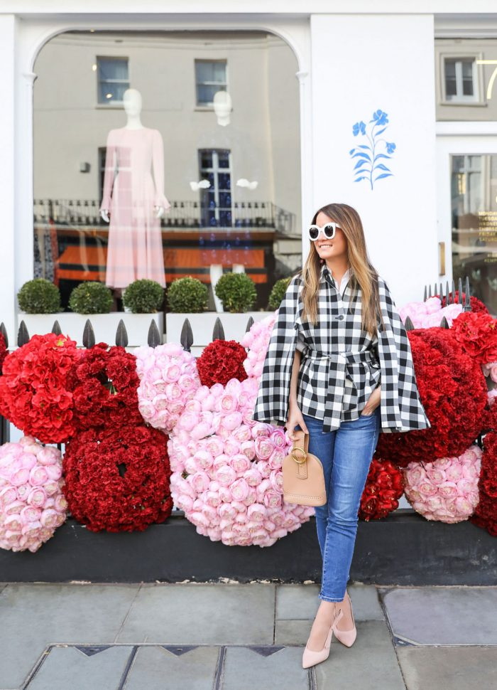 Buffalo Check Cape at a London Floral Storefront