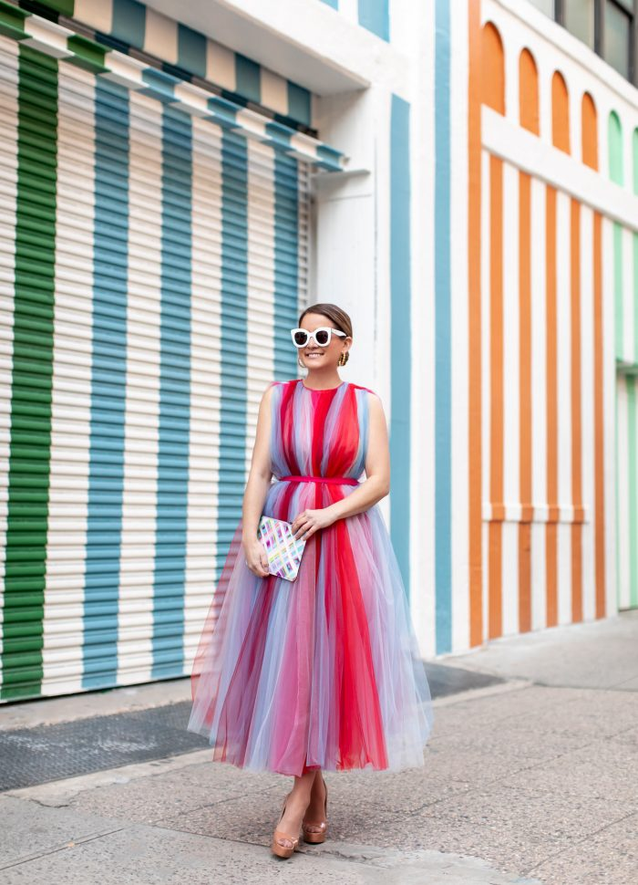 Carolina Herrera Stripe Tulle Dress