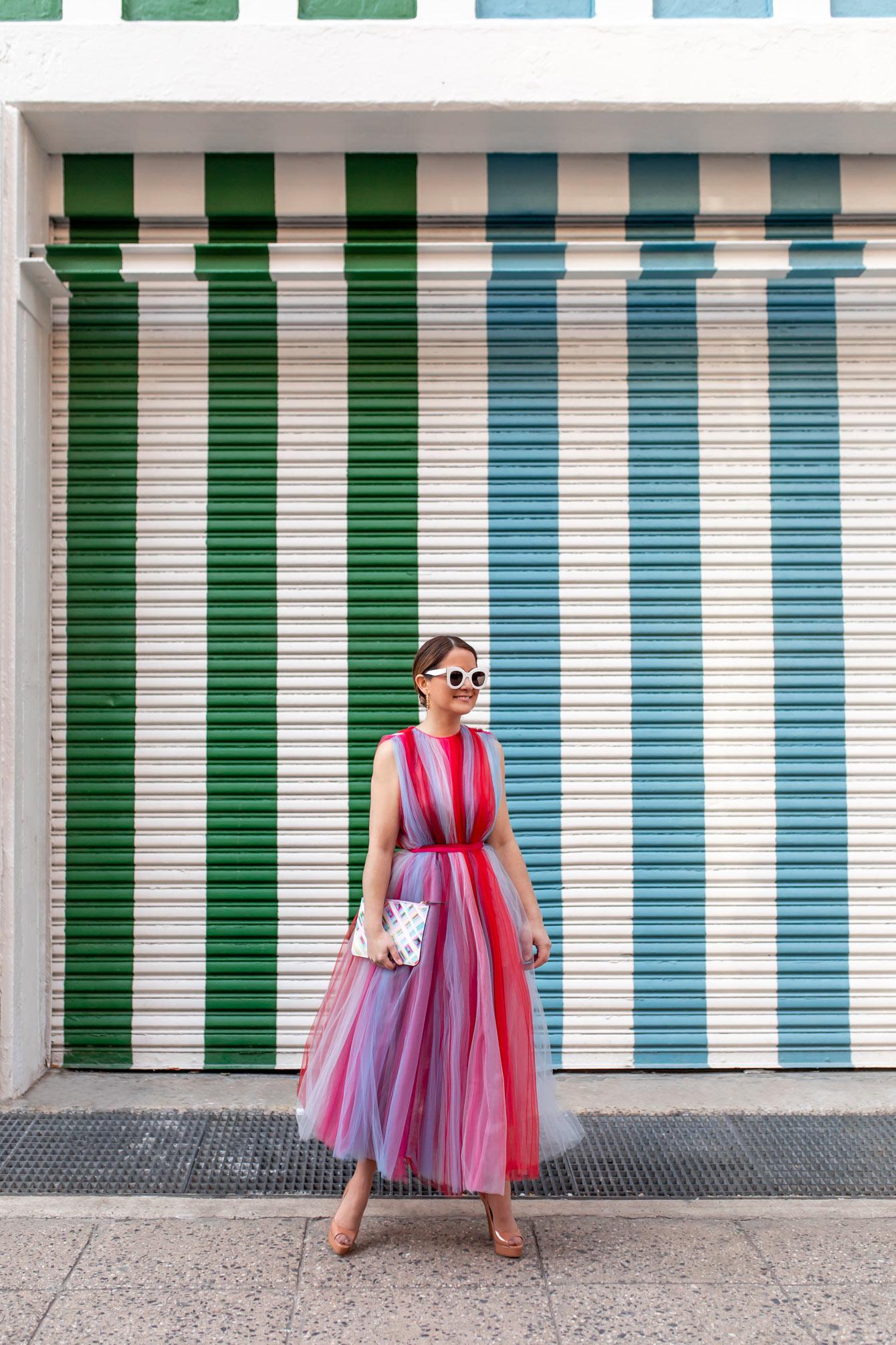 Carolina Herrera Stripe Chiffon Dress