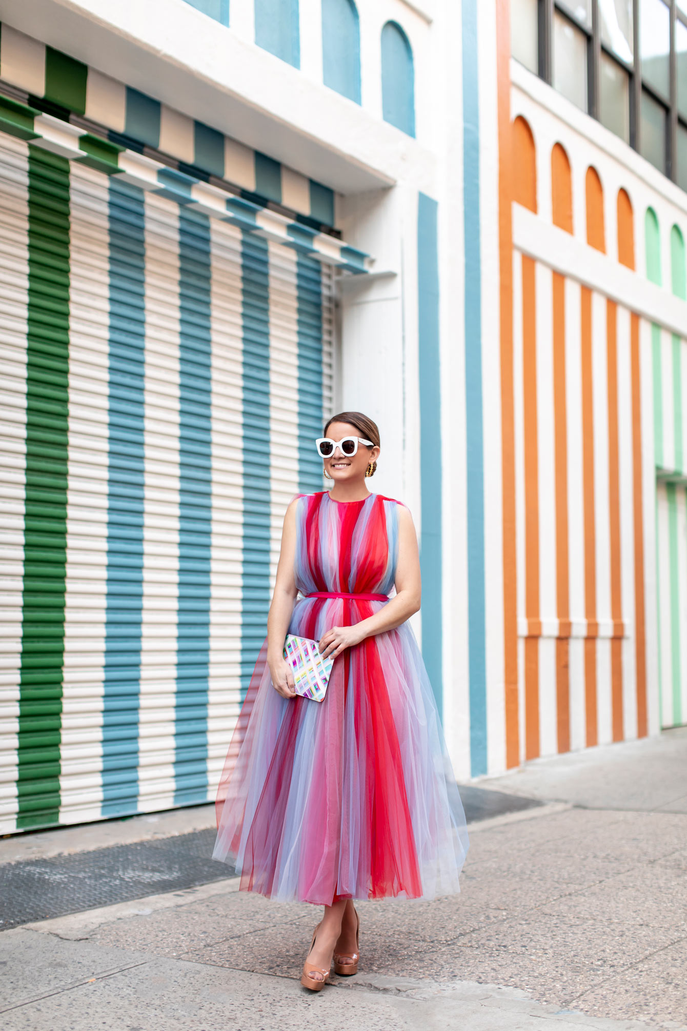 Carolina Herrera Stripe Tulle Dress