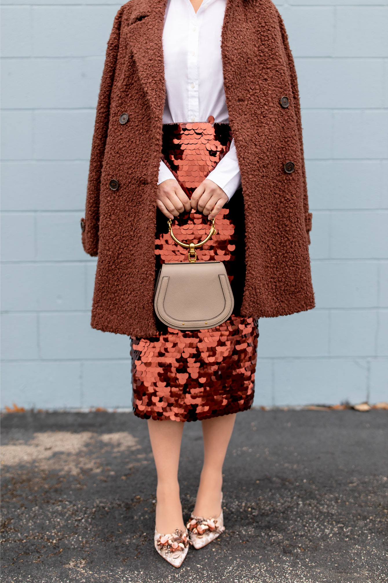 Copper Sequin Paillette Skirt