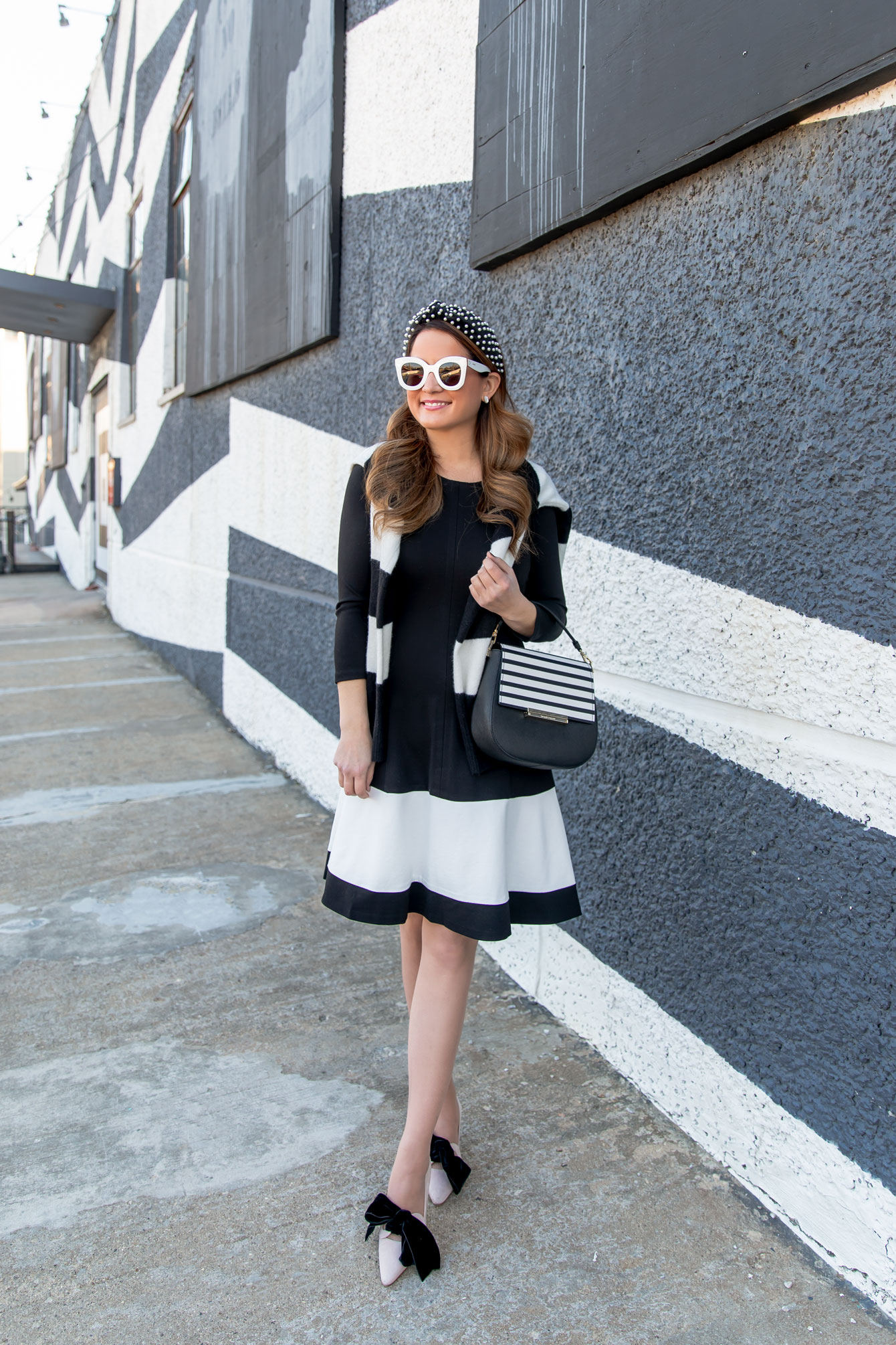 Eliza J Black White Stripe Dress