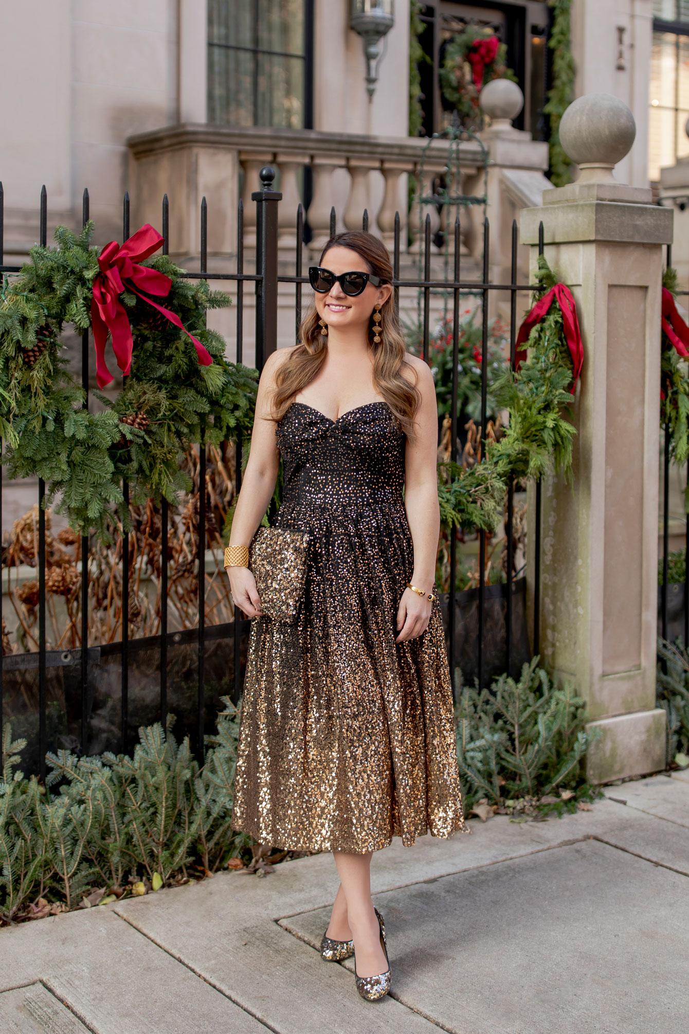 Eliza J Gold Ombré Sequin Dress