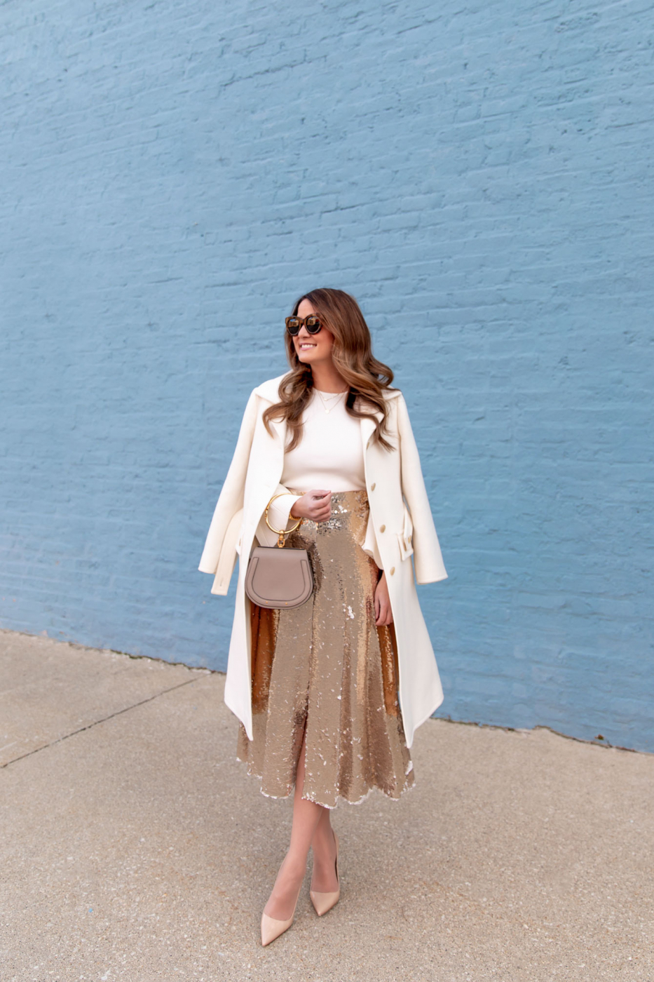 Eliza J Gold Sequin Midi Skirt
