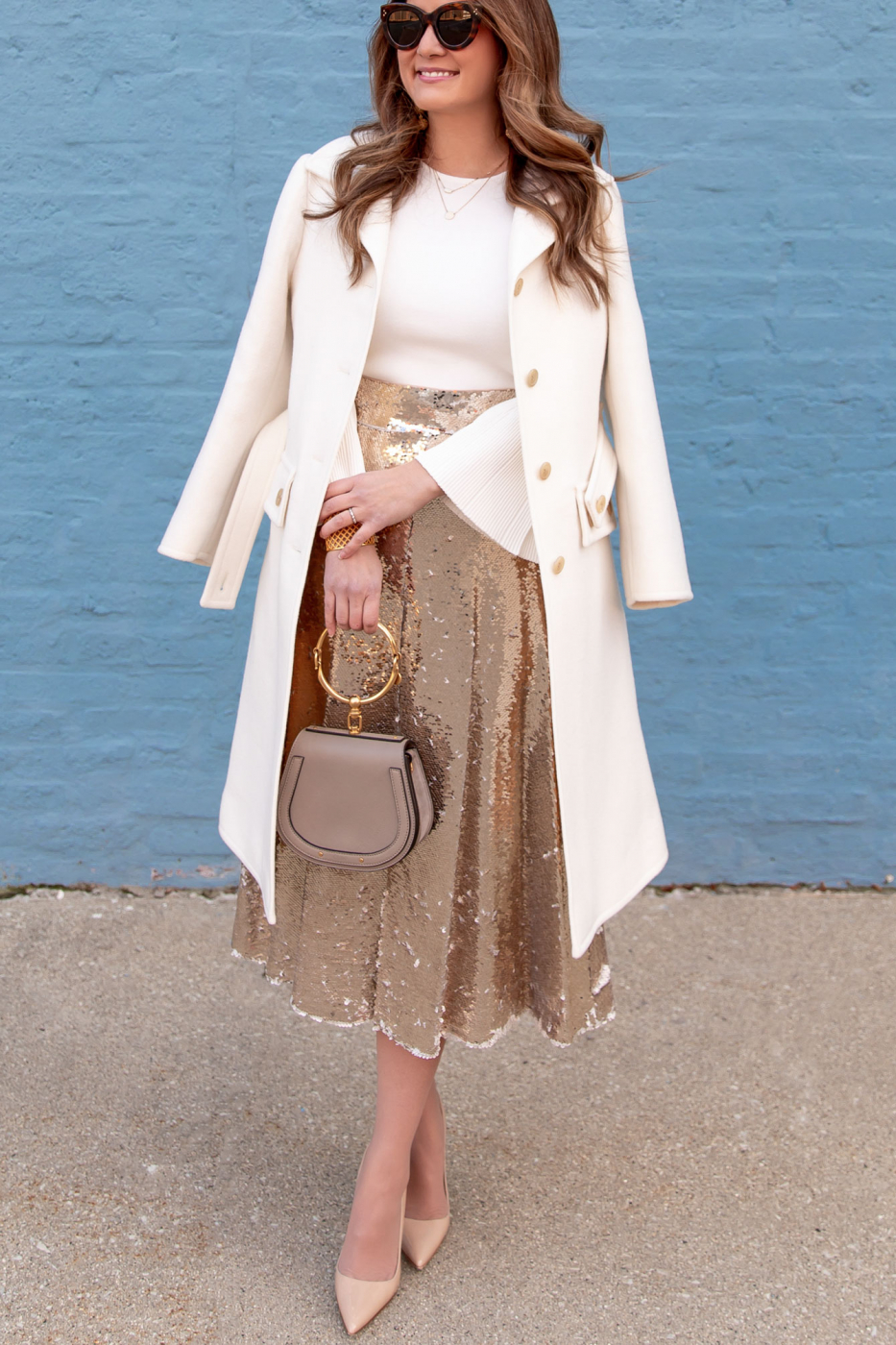 Eliza J Gold Sequin Skirt