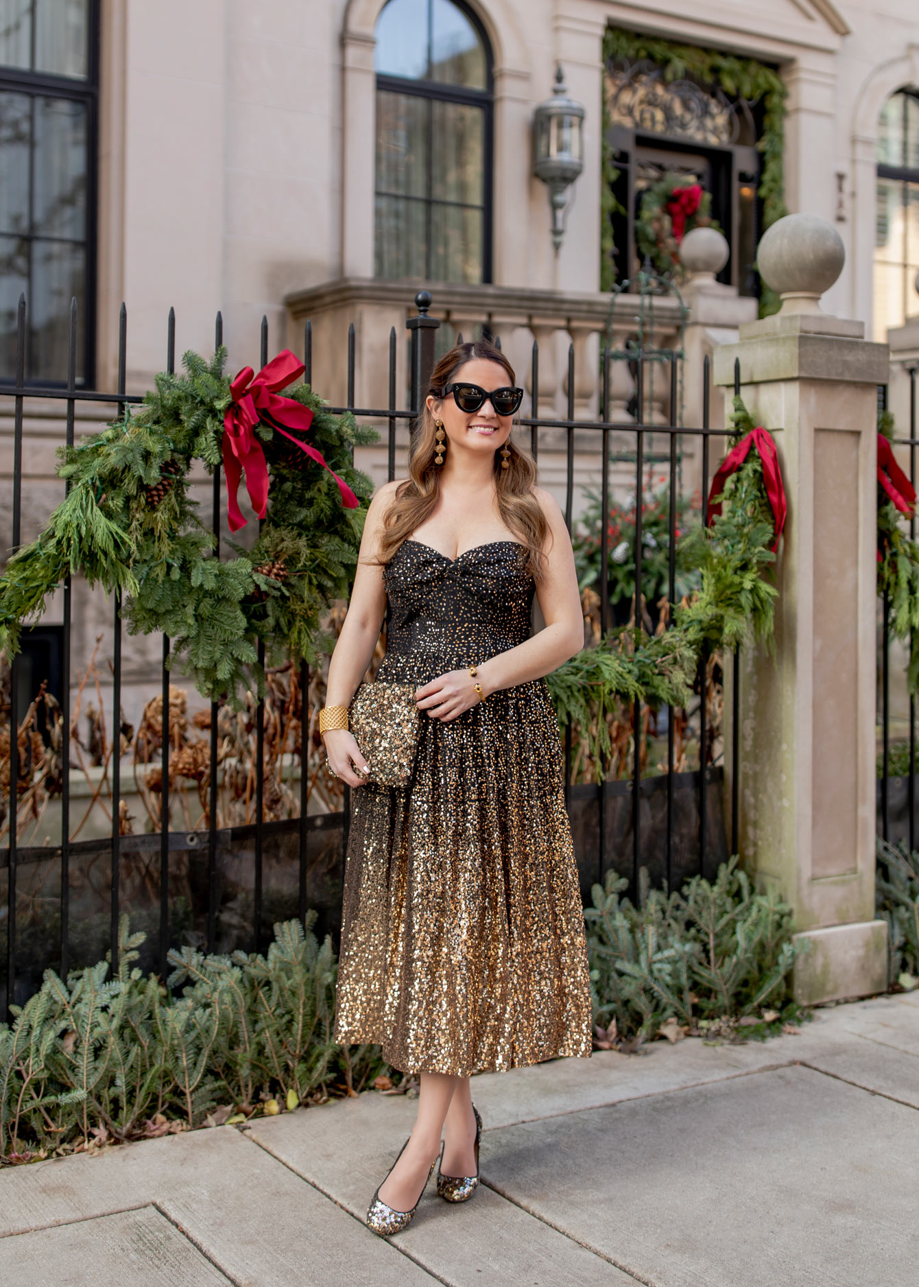 Gold Sequin Ombre Dress