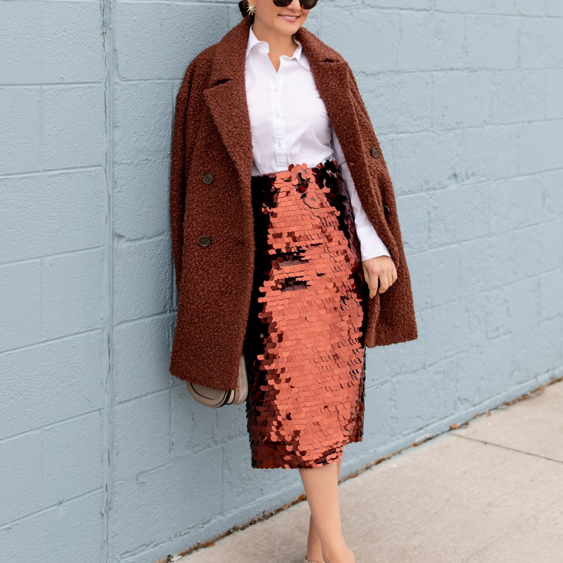 Halogen Copper Paillette Skirt
