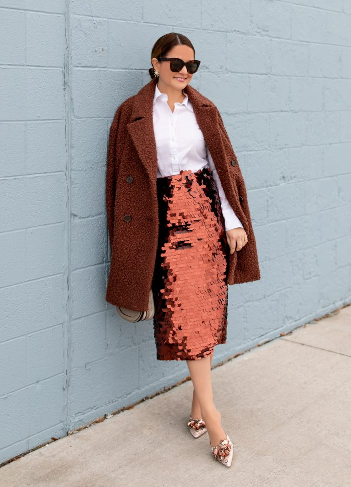 Styling a Copper Sequin Paillette Skirt