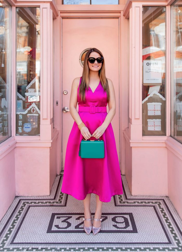Magenta Belted Fit and Flare Dress