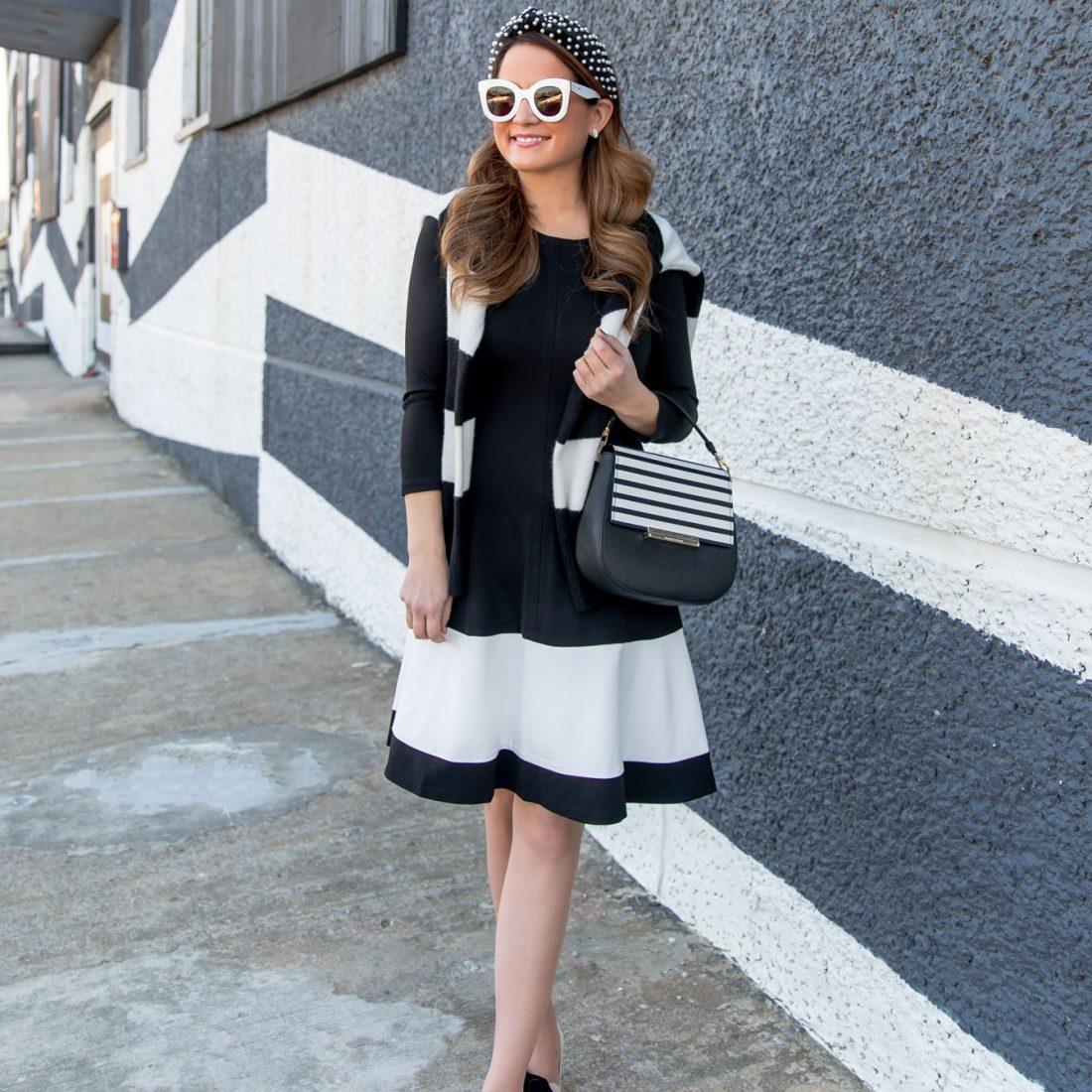 Jennifer Lake Black White Stripe Dress