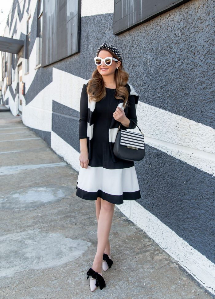 Black and White Contrast Stripe Dress // Friday Charades