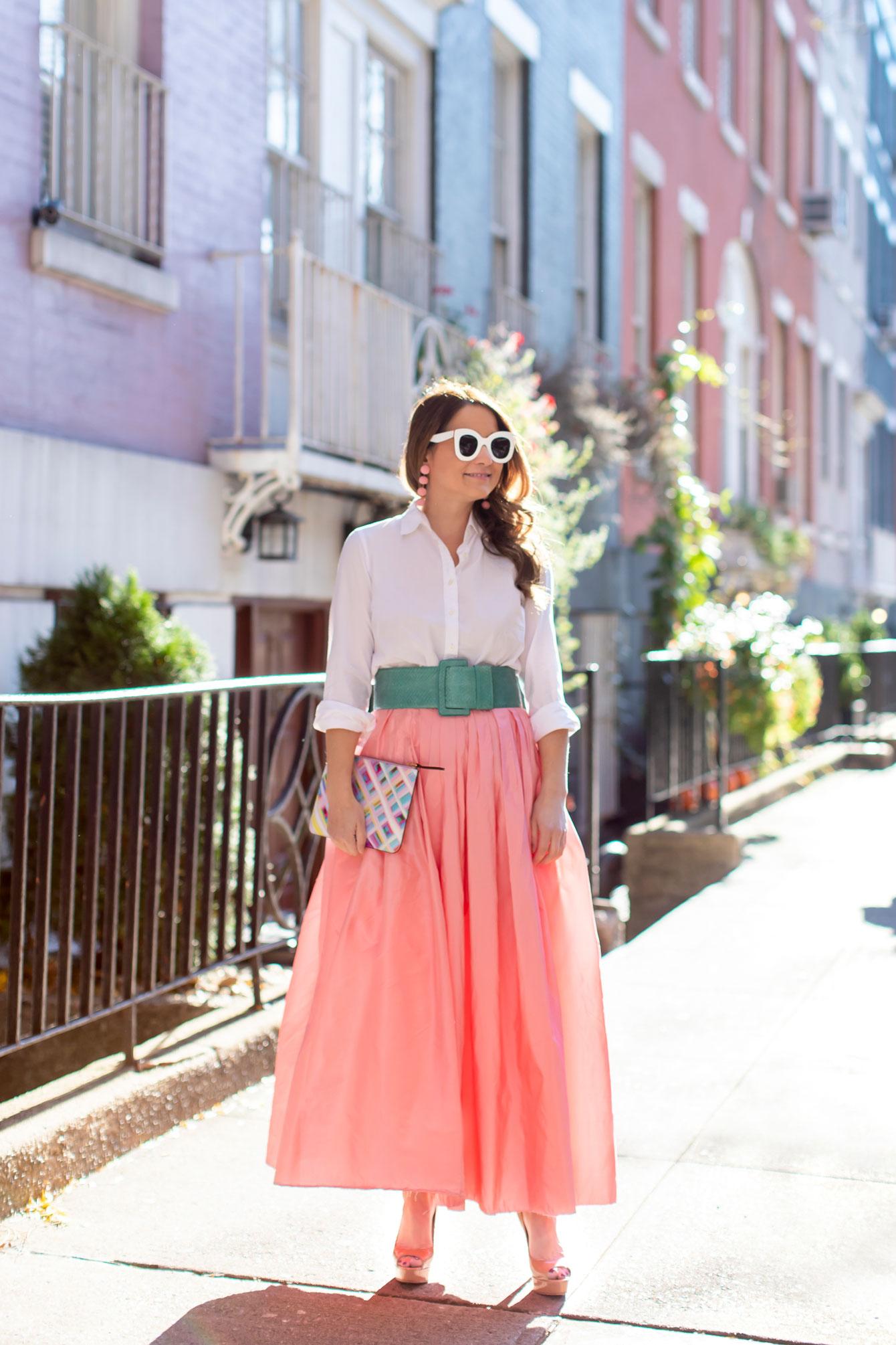 Jennifer Lake Carolina Herrera Pink Ball Skirt