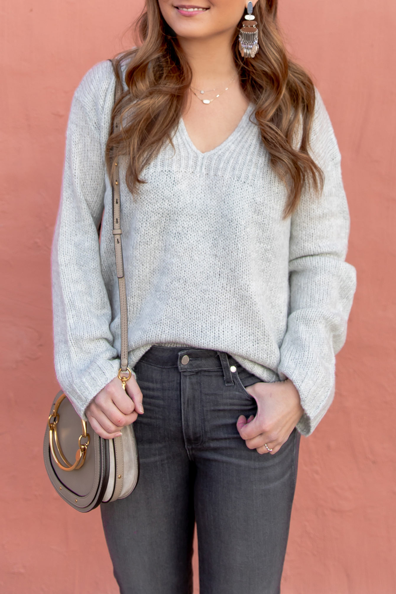Jennifer Lake V Neck Gret Sweater