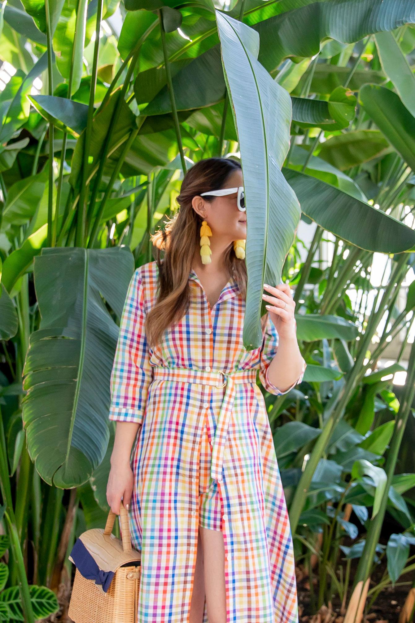 MDS Stripes Rainbow Plaid Dress