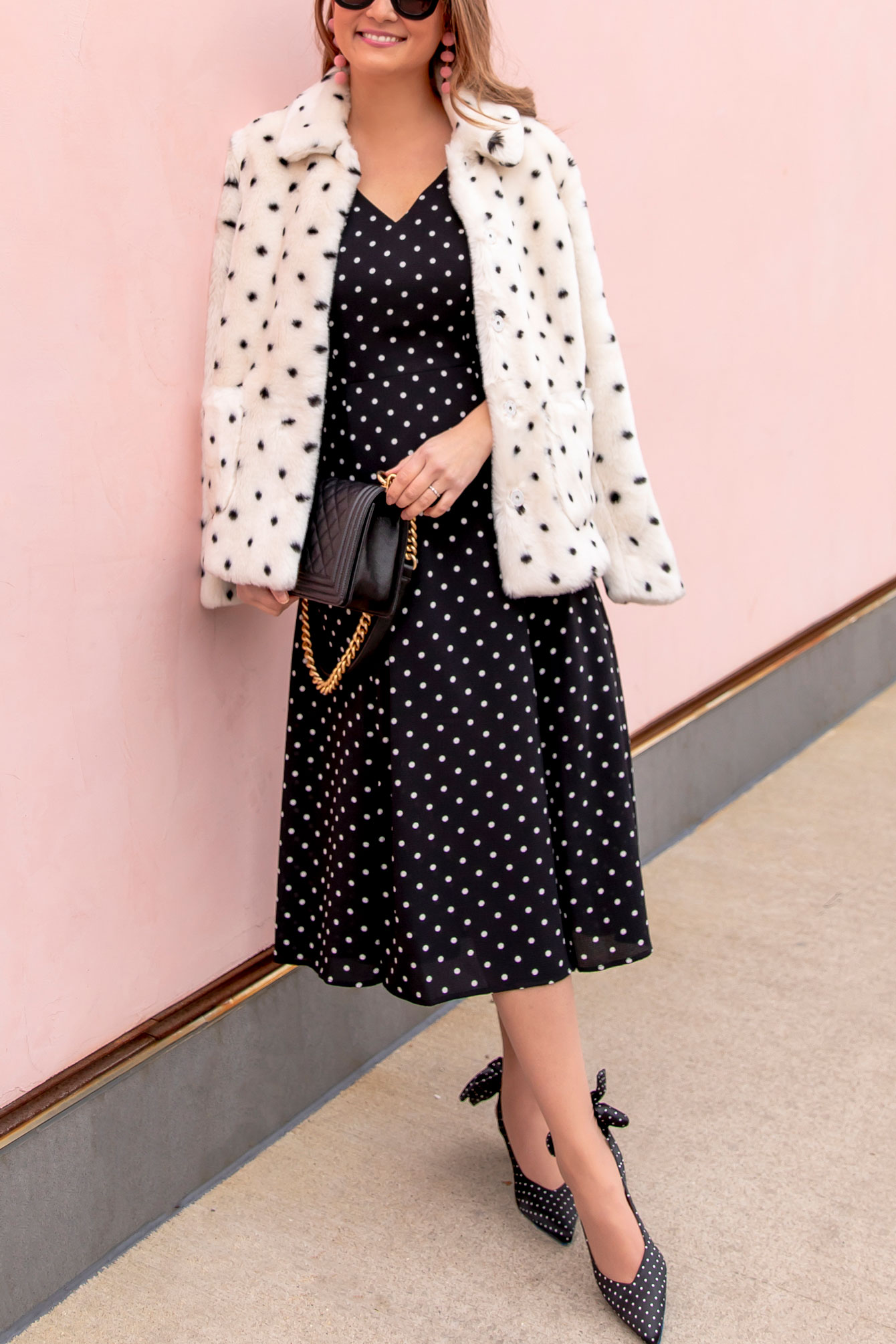 Polka Dot Faux Fur Jacket
