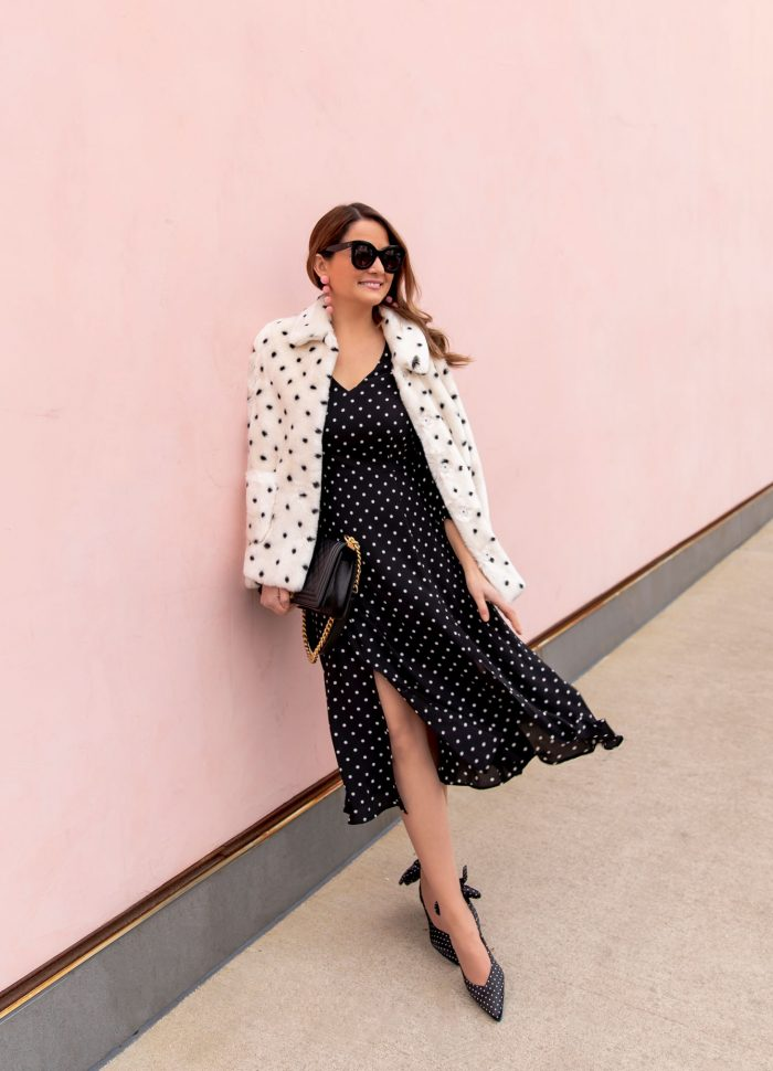 Styling a Long Sleeve Polka Dot Midi Dress