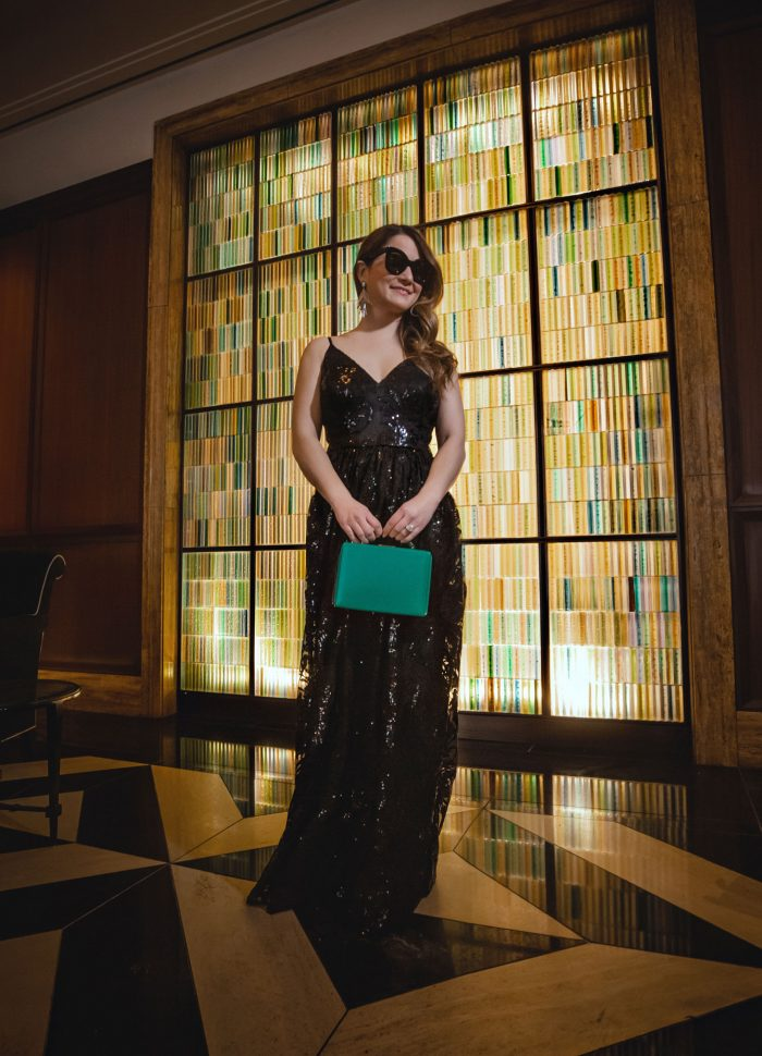Eliza J Black Sequin Gown at The Peninsula Chicago