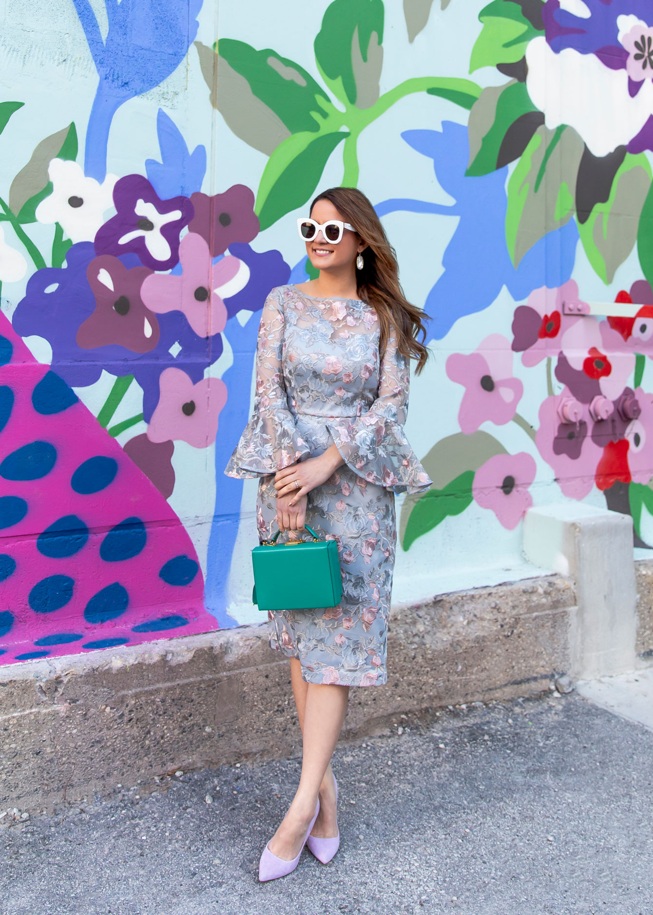 95a3374b17af Eliza J Floral Lace Sheath Dress at a Chicago Mural - Style Charade