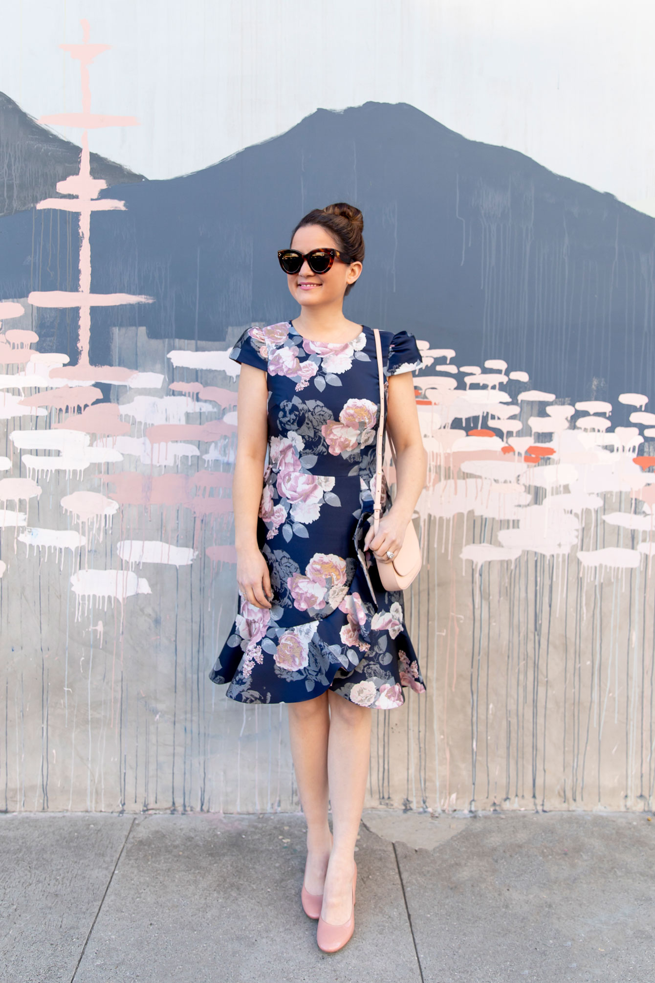 Eliza J Navy Pink Floral Brocade Dress