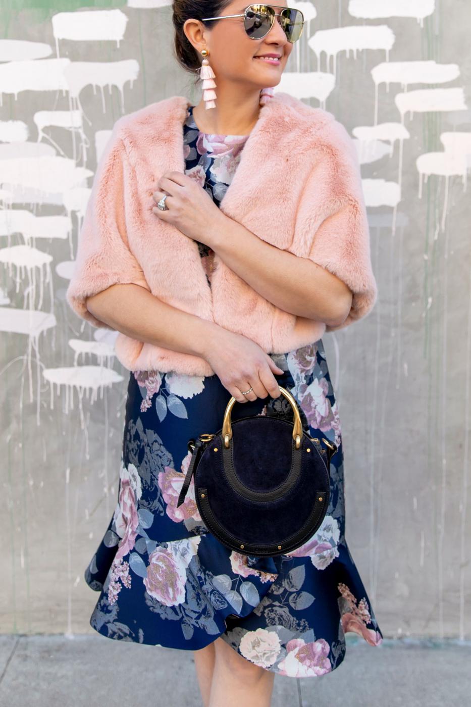 Eliza J Pink Faux Fur Capelet