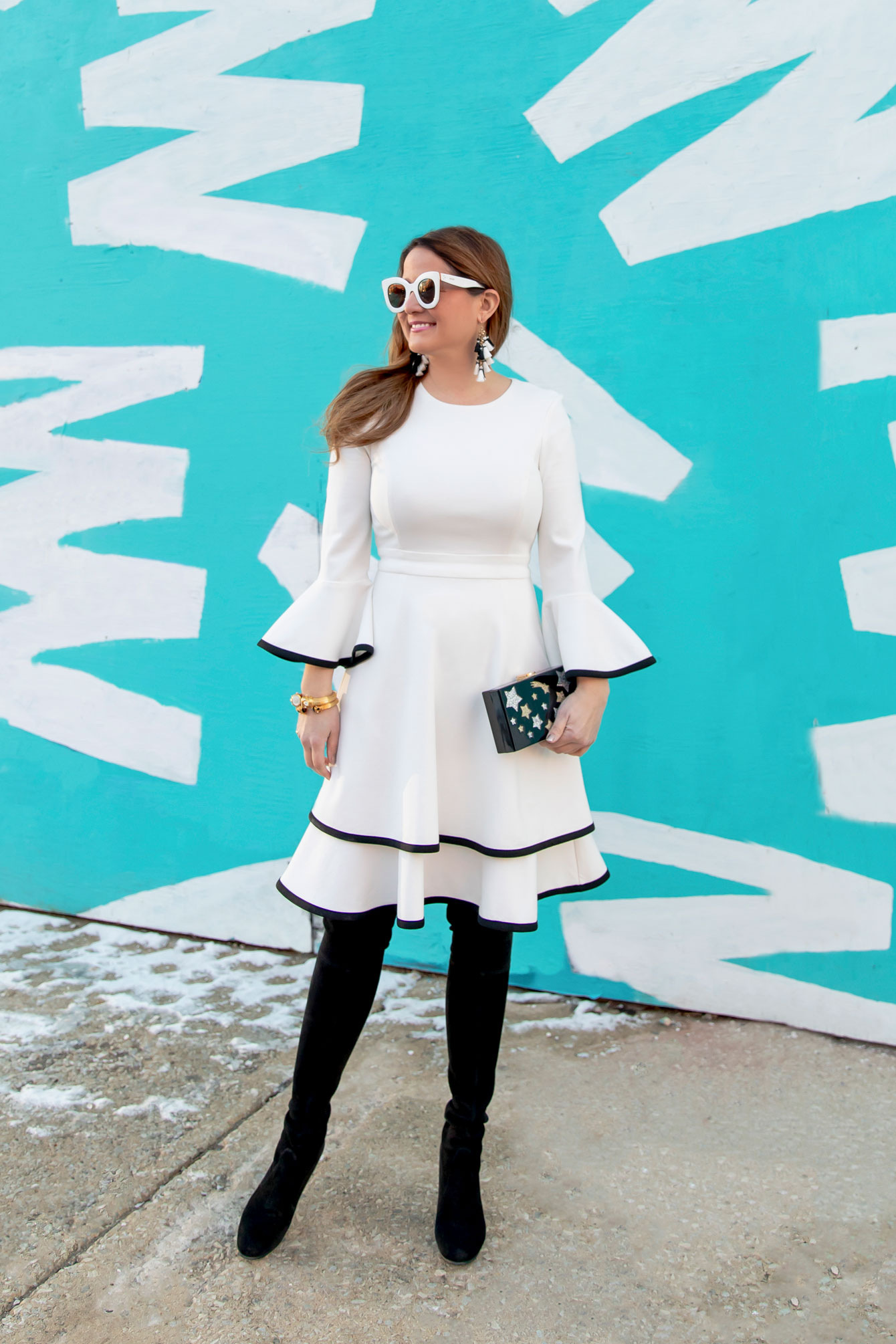 Eliza J White Bell Sleeve Dress