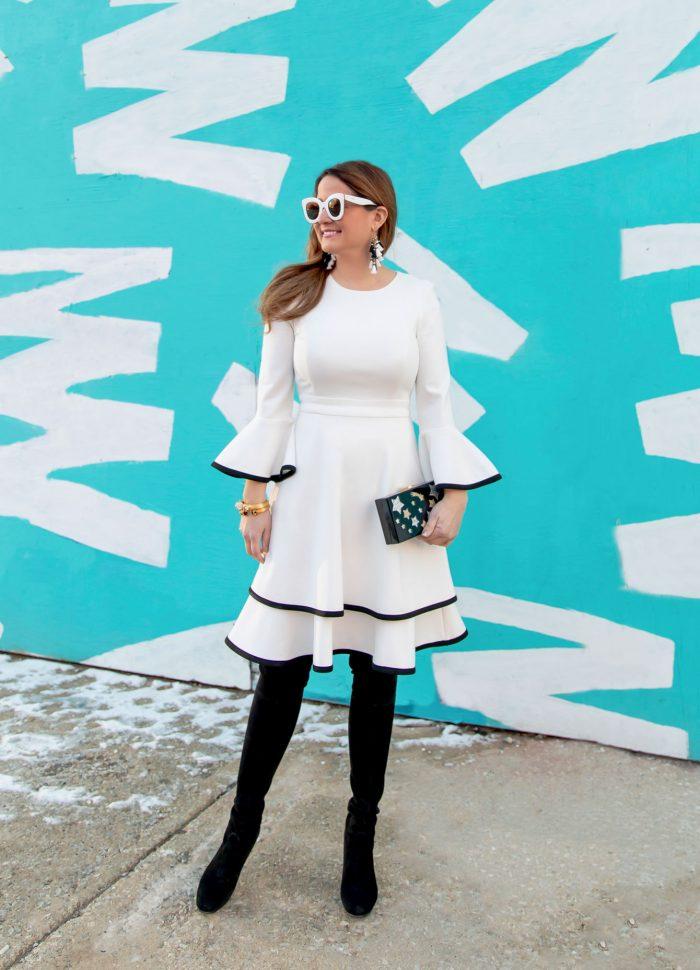 Eliza J White Bell Sleeve Dress