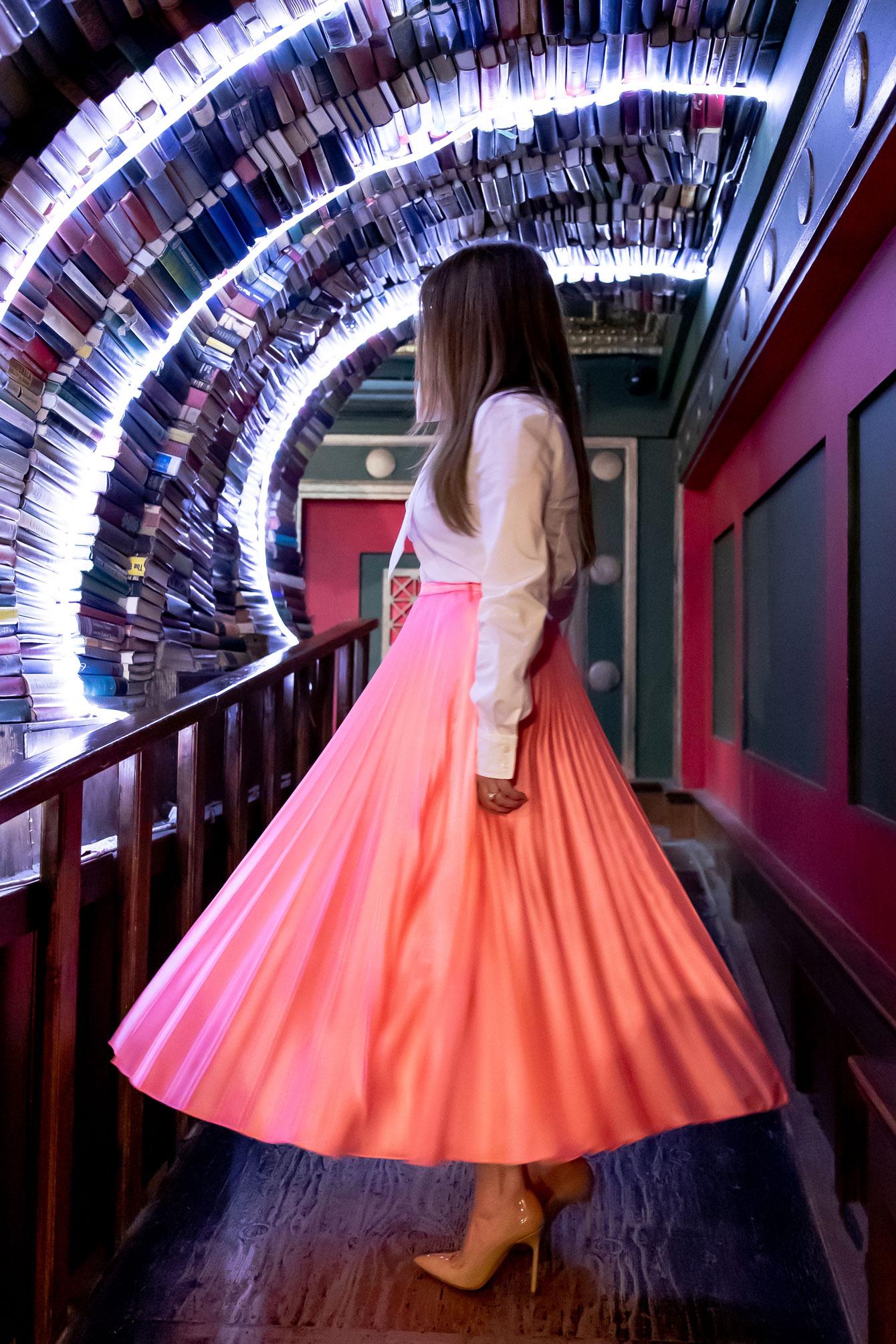 Jennifer Lake Pink Pleated Skirt
