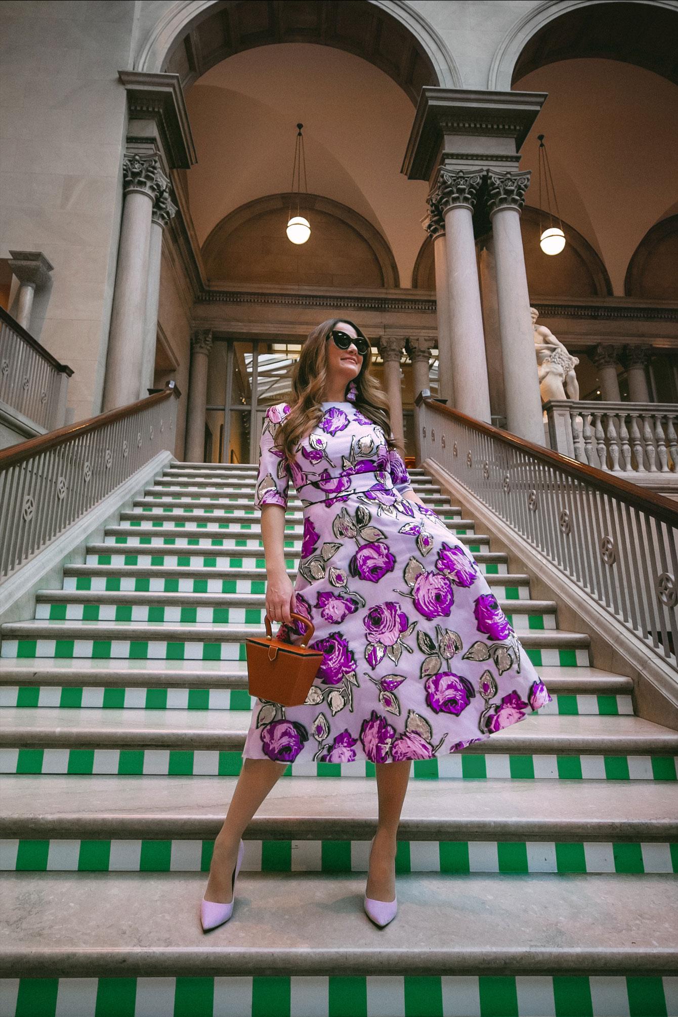 Lela Rose Fil Coupe Organza Midi Dress