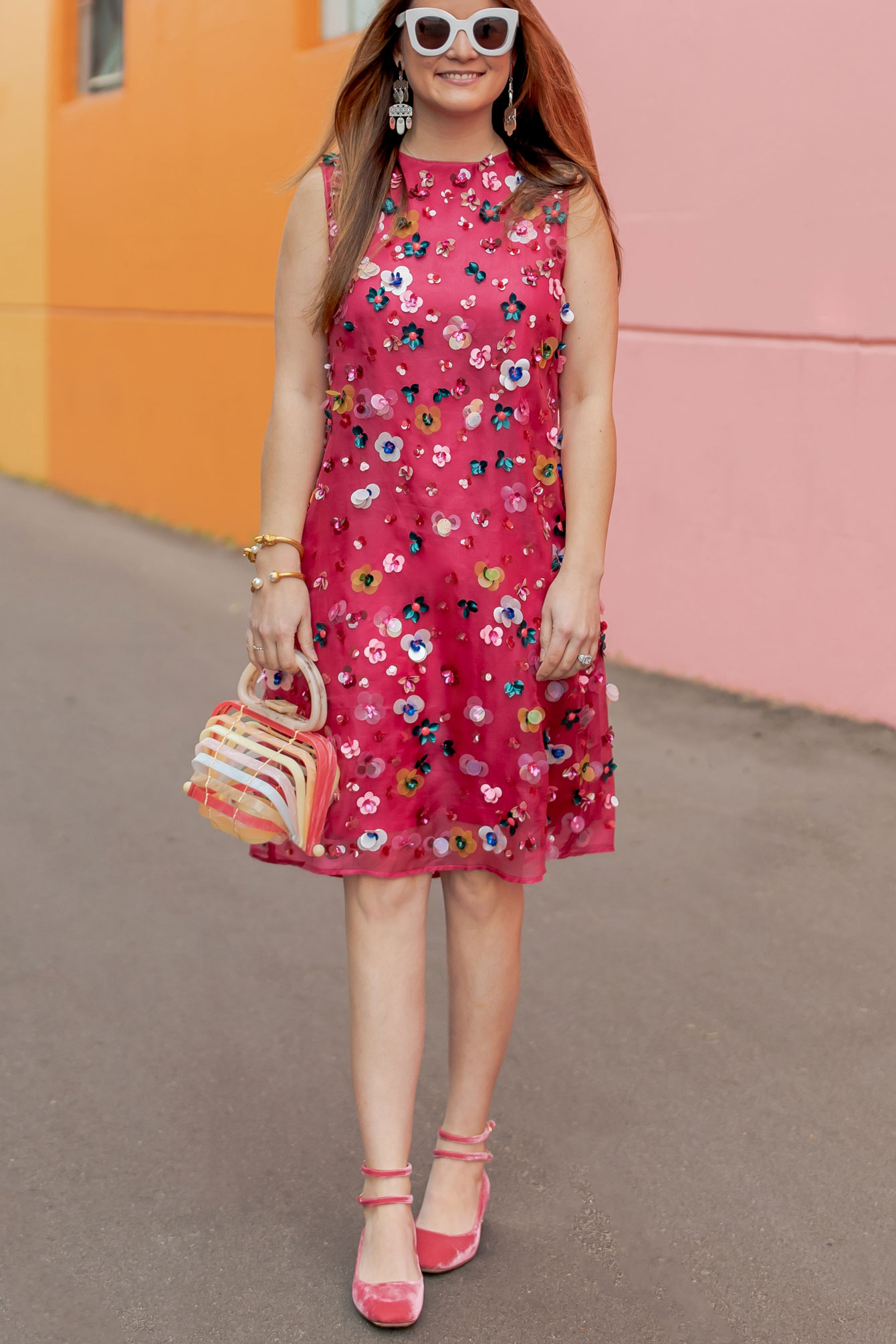 Mansur Gavriel Pink Embellished Dress