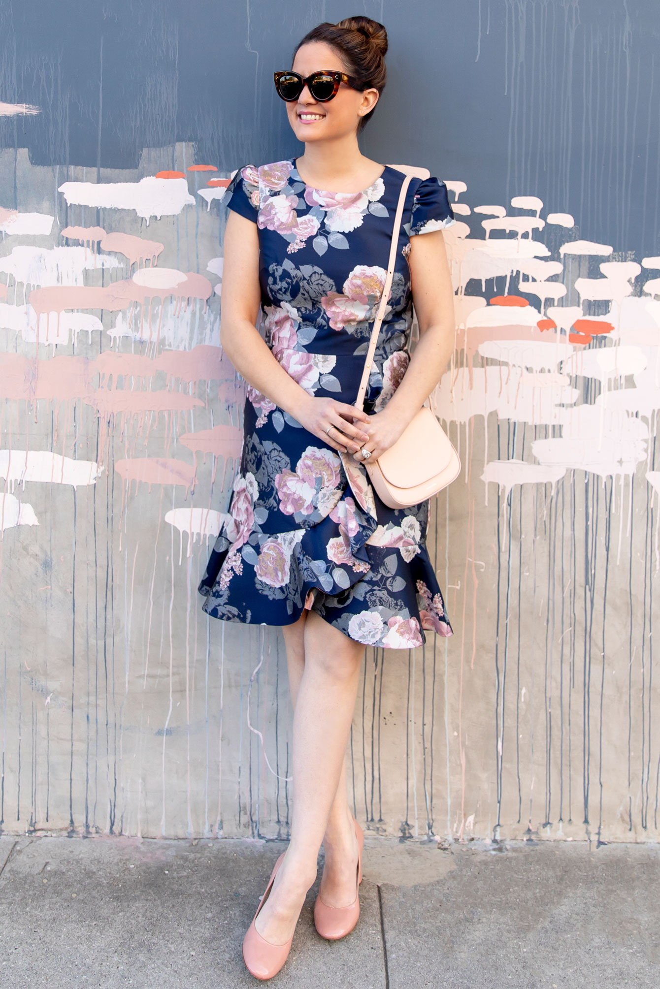 Navy Floral Ruffle Trim Dress