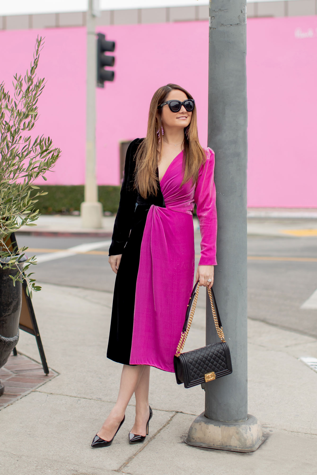 Pink Black Velvet Wrap Dress