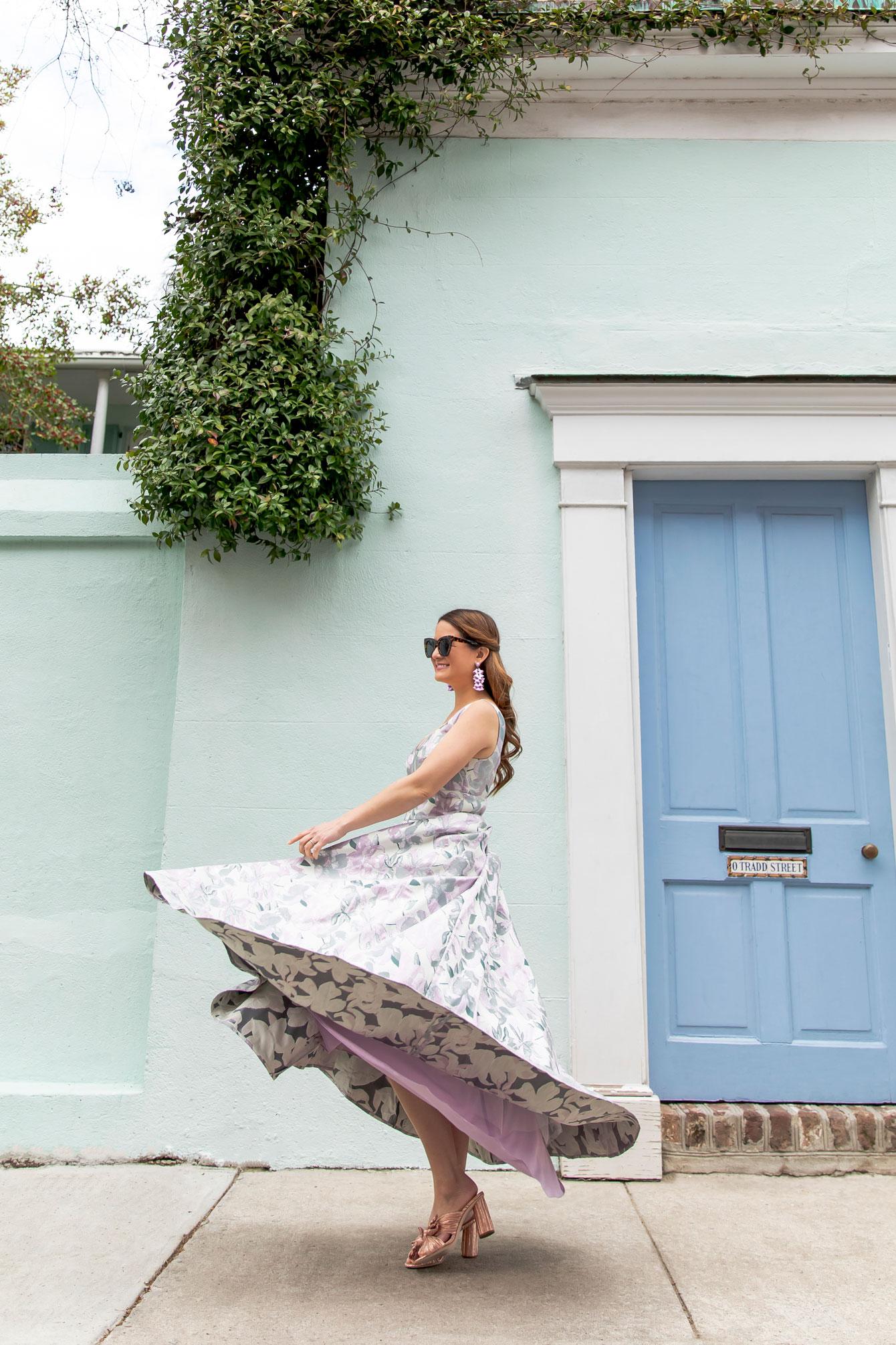 Eliza J Floral Jacquard Gown