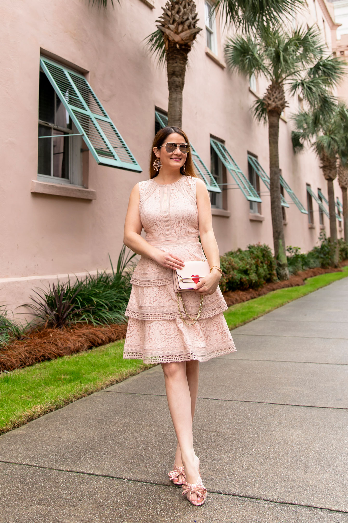 Eliza J Pink Lace Dress