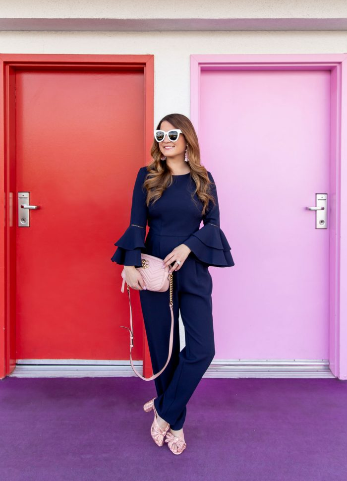 Navy Bell Sleeve Jumpsuit in Palm Springs