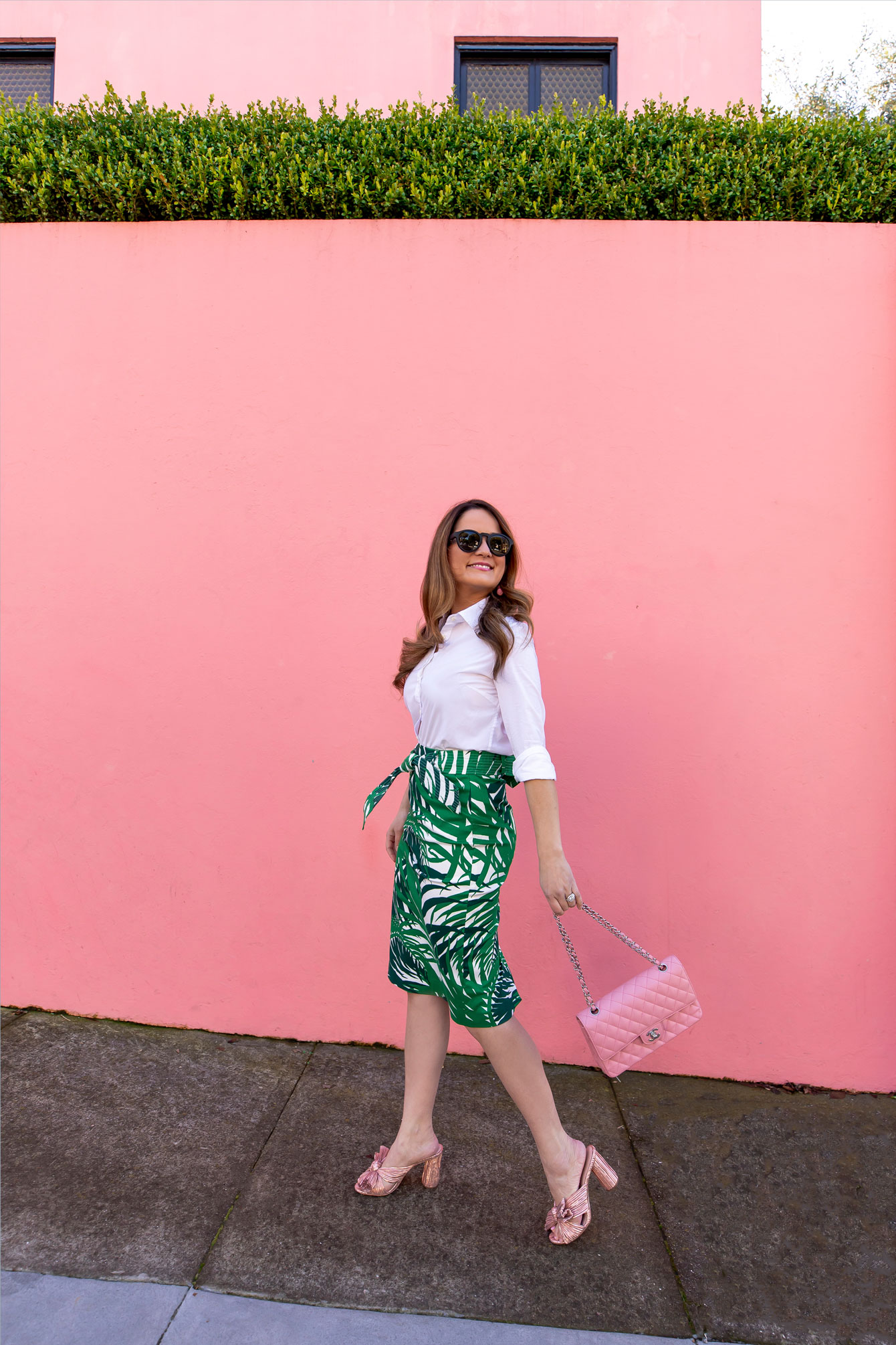 Jennifer Lake Palm Print Skirt
